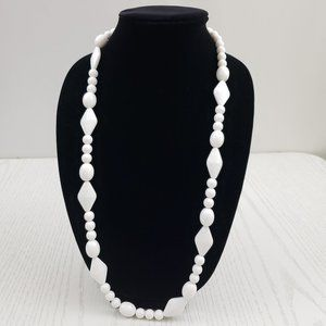Vintage Monet White Chunky Bead Long Necklace